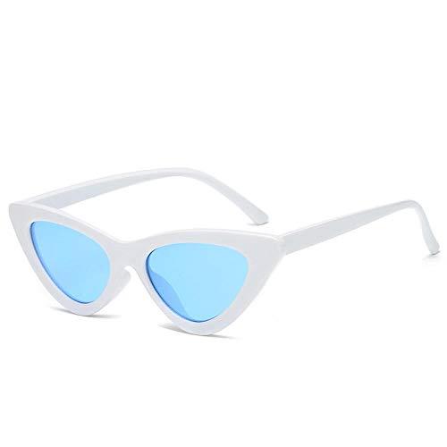 HSHUO Damensonnenbrille Katzenauge Sonnenbrille wilde Sonnenbrille mit kleinem Rahmen uv400@Blau