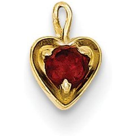 Icecarats Diseñador De Joyas 14Ky Enero Encanto Del Corazón De Piedra Sintética