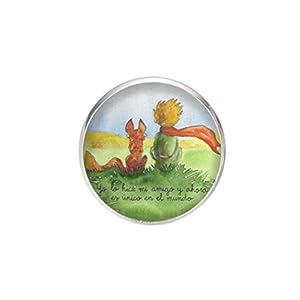 Edelstahl Brosche, Durchmesser 25mm, Stift 0,7mm, handgemachte Illustration Der kleine Prinz 2