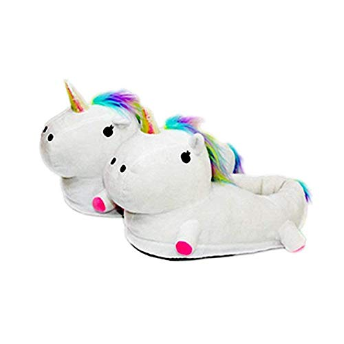 Autunno inverno pantofole peluche ciabatte unicorni animali cosplay halloween costume scarpe (adulto 35-42 eu, bianco)