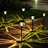 #10: TUZECH Flower and Leaf Solar Powered Rechargeable LED Lawn Garden Light Lamp Auto On Off Waterproof (White, 8 Piece)