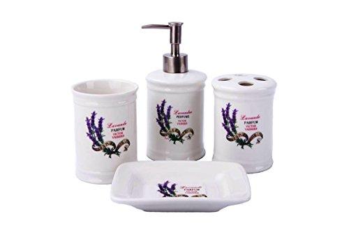 Rústico Vintage badset Lavanda–Accesorios de baño dispensador de jabón de WC Cepillo cerámica, cerámica, morado, 4 er Set