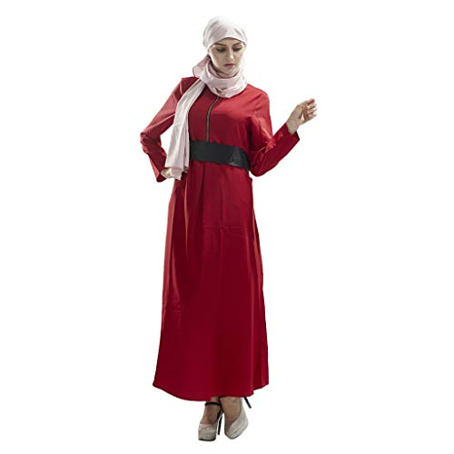 Einfach Indischen Kostüm - QinMM M-Muslim Bow Belt Damen Langarm Kleid - Einfach Lässig Klassisch Elegant Party Festival Ramadan Festival Abendkleid Kimono M-XL
