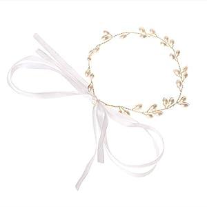 Cuigu Luxus Braut Handgemachte Perlen-Haarband, Schmuck-Stirnband für Hochzeit