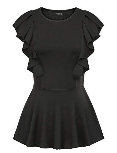 Rüschen Bluse T-shirt Top (ANGGREK Damen Bluse Sommer Schößchen Oberteile Ärmellos Weste Elegant Shirt Tops mit Rüschen ...)