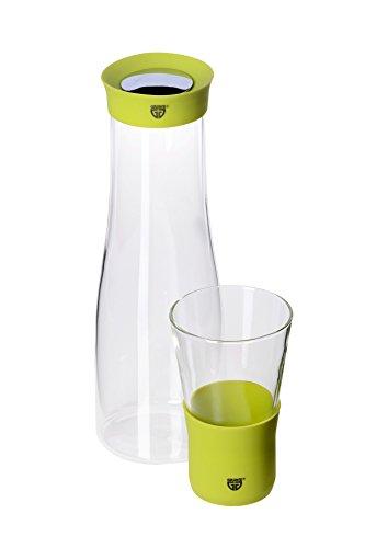 GRÄWE Glaskaraffe 1 Liter grün inkl. GRATIS Trinkglas