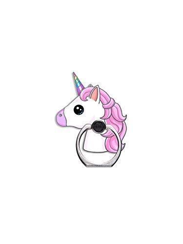 Süßes Einhorn Rainbow Emoji-Zelle Phone Ring Halterung, Verstellbar 360° Rotation und 180° Flip Finger Ring Ständer für iPhone, Android, Tablet (Prop Android-handy)