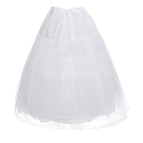 Iefiel sottogonna sottoveste bambina crinolina bianca abito da sposa nozze wedding damigella vestito da matrimonio petticoat tutu due strati gonna principrssa ragazza bianco taglia unica