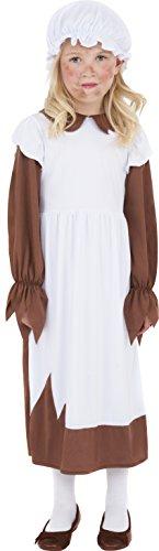 Mädchen Kostüm Braun - Armes viktorianisches Mädchen Kostüm Braun mit Kleid und Mütze, Large