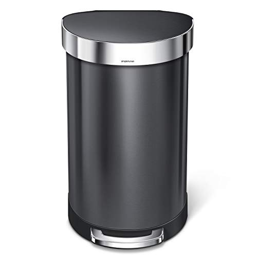 simplehuman 45 Liter / 12 Gallon Semi-Round Step Liner Rim, Black Stainless Steel Kitchen Trash Can Semi Round Step