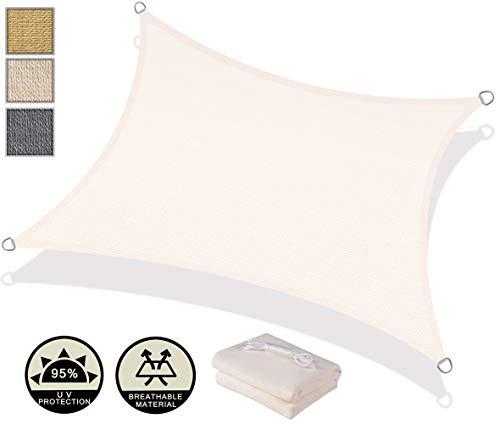 Axt shade tenda a vela rettangolare 2 x 3m, traspirante e protezione raggi uv, per esterni, cortile, giardino, colore crema