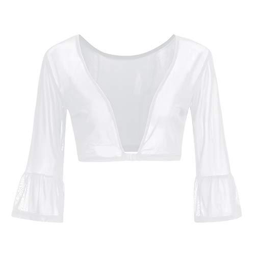 iHENGH Damen Sommer Top Bluse Bequem Lässig Mode T-Shirt Blusen Frauen beide Seiten tragen Schiere Plus Size Nahtlose Arm Former Top Mesh Shirt Blusen(Weiß-1, XL)