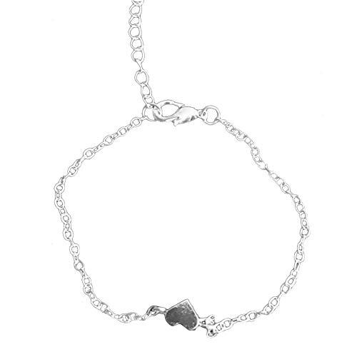 mothcattl Goldene Legierung herzförmige Liebe Pfirsich Herz Armband Silver (Silver Dollar Charme)
