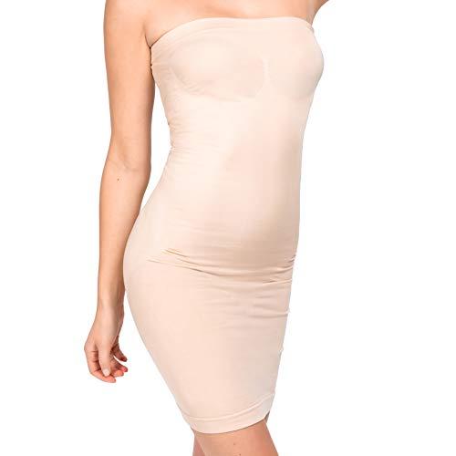 UnsichtBra Shapewear Damen Trägerloses Kleid | Shaping Unterkleid Trägerlos | Bodyformer Shape-Kleid in schwarz, weiß oder beige (sw_3200)(M,Beige-Mini)
