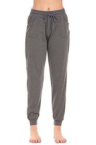 Avidlove Damen elegant Zweiteiliger schlafanzug set langarm pyjama set Baumwolle Nachtwäsche set langarm sleepwear Pyjama-Oberteil:Hellgraues Hose: dunkelgrau