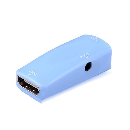 CDKJ HDMI zum VGA-Konverter Vergoldete Aktive HD 1080P Adapter Zusammen mit 3,5-mm-Audio für Laptop PC-Projektor HDTV -Blue