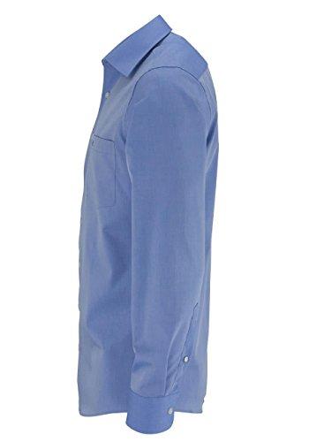 CASAMODA Herren Hemd 69er Ärmel 100% Baumwolle - Modern Fit - extralang Mittelblau