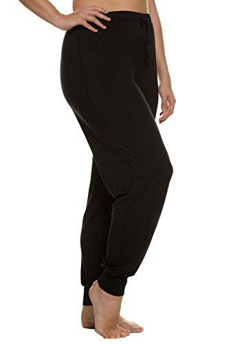 Ulla Popken Femme Grandes tailles Pantalon de pyjama - Pantalon de sport capri Yoga Fitness running Sexy 697298 Noir