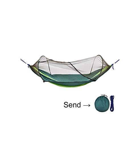 MAGF Doppelte kampierende Hängematte mit Moskito/Wanzen-Netzen, Schwingen-Stuhl im Freien mit Baum-Bügeln Erwachsen-Kind-Anti-Fall 2 Personen-grün-blaues hängendes Bett (Color : Dark Green) -