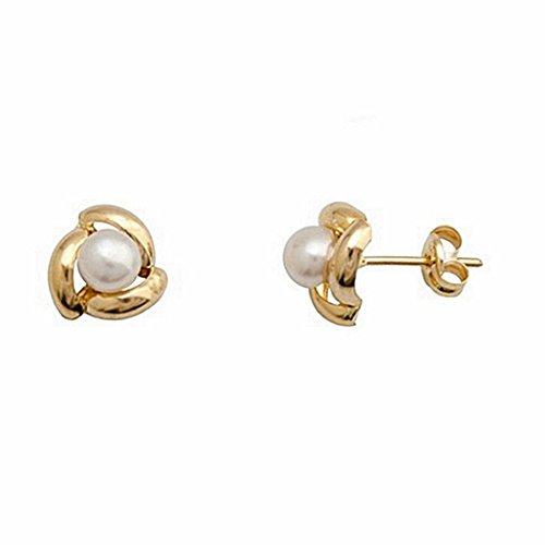18k orecchini di perle coltivate pressione di chiusura a 3 bande [6663P]