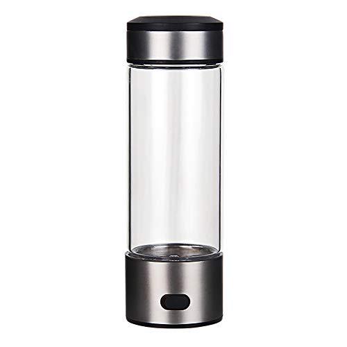 AUNLPB 420ml Aufladen Wasserstoff-reiches Wasser-Ionisator-Generator-Generator, tragbarer Wasserstoff-Wasser-Generator mit Doppelglasflasche, Stoffwechsel-Booster -