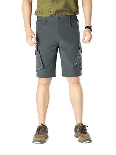 HSNMEY Herren Shorts Cargo Nylon Sommerhosen atmungsaktiv für Sommer, Dunkelgrau DE 58 (Label 5XL) Nylon Cargo