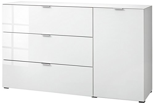 CS Schmalmöbel 45.012.505/022 Highboard Cleo Typ 15, 163 x 50 x 99 cm, weiß / weißglas