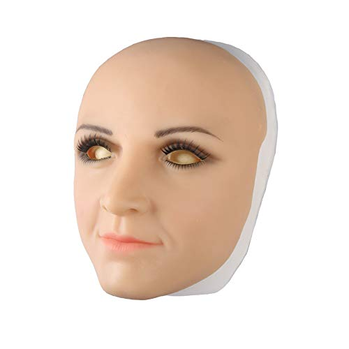 BZDJS Realistische Dame Kopf Maske weichem silikon handgemachtes Gesicht für Crossdresser Transgender Cosplay Halloween schönheit Maskerade cos Transvestite,D,ClosedMouth