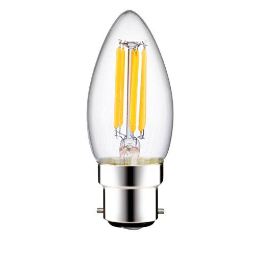 luohaoshi 6W Dimmbar LED Filament Kerze Leuchtmittel C35, Bajonettsockel B22Sockel, Bajonett Leuchtmittel 60W Glühlampe Ersatz, 600lm, Tag weiß 6000K, 220–240V AC, 1er Pack (Bajonett-sockel)