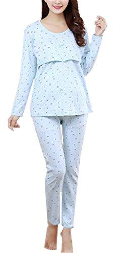 Kerlana Damen Umstands Still Schlafanzug Rundhals Langarm Pyjamas Overall Große Größen Locker Strampelanzug Baumwolle Komfortabel und Stilvoll