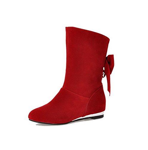 VogueZone009 Damen Ziehen Auf Rund Zehe Niedriger Absatz Niedrig-Spitze Stiefel mit Schleife Rot