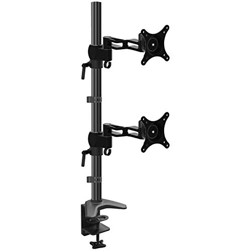 HFTEK Vertikal Tischhalterung mit Neig-, Schwenk- und Rotierfunktion für dual 2 Fach LED und LCD Monitore bis 27 Zoll VESA 75x75 100x100 (FY522HDB) -