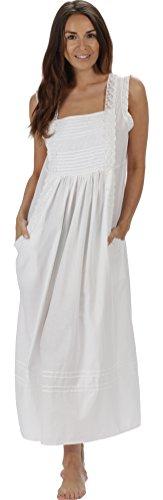 Schöne Viktorianische Spitze (The 1 for U 100% Baumwolle Nachthemd mit Taschen Damen Viktorianisch Stil Rebecca - Weiß, Medium)