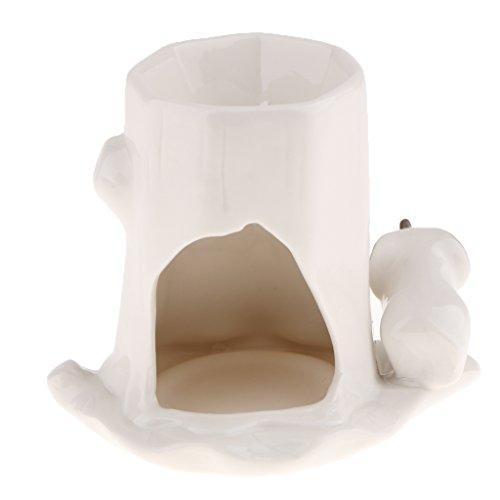 D DOLITY Quemador de Incienso de Cerámica Blanca Candelabro Sostenedor de Vela en Forma de Animal Lindo - Elefante