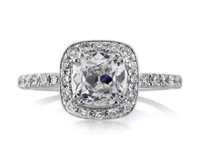 Cushion Cut 1.70 Karat Solitaire Diamond Engagement Schöne Ringe 14 Karat Solid White Gold Frauen Schmuck-Set Finger Größe 51 (16.2)
