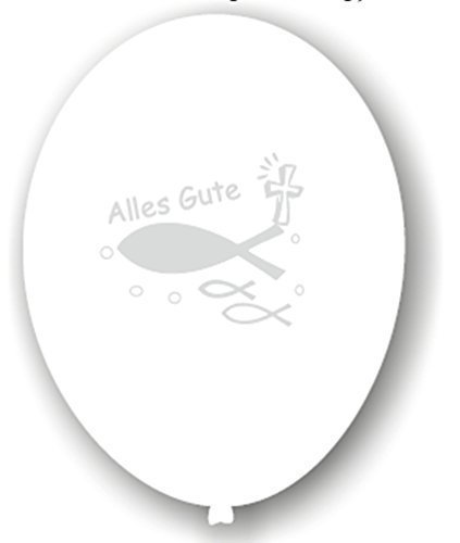 Karaloon Luftballon Ichthys Alles Gute für Konfirmation Kommunion 6 Stück 30 cm weiß-silber