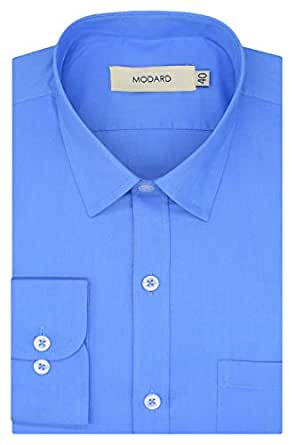 MODARD Plain Solid 100% Giza Cotton Full Sleeves Regular Fit Formal Shirt for Men