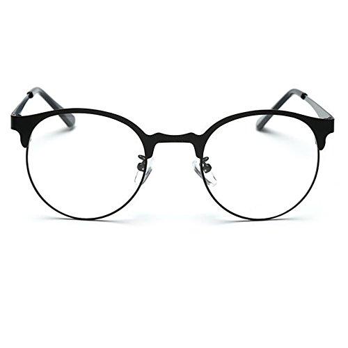 TIJN nuovo round prescrizione Occhiali Telaio in metallo con lenti trasparenti Black M
