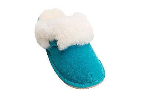 Peau de Mouton et de la Laine Naturelle Pantoufles Mule pour Femme Avec Doublure Chaude Turquoise