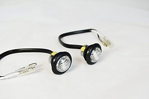 Petit Rond encastré clignotant LED Marqueurs Pour Projet Motos Scooter- Transparent Verre - Ambre léger
