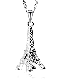 3199eea3da08 GemsChest Eiffel Tower - Colgante de Plata de Ley 925 con diseño de Torre  Eiffel