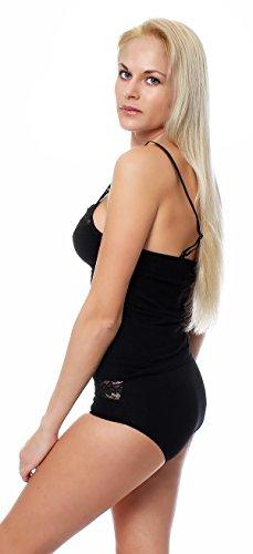 Reggiseno-camicia di Lady, canottiera con spalline regolabili, taglia 38 fino a 48 Nero Nero
