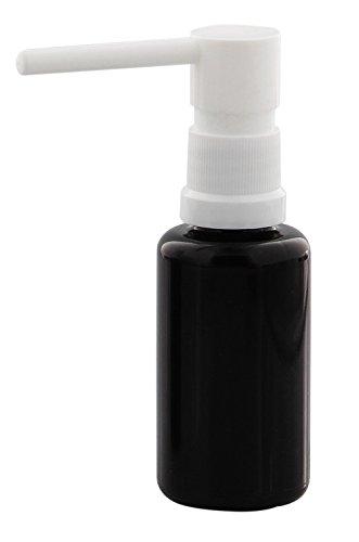 Miron-Glas Rachen-Spray Flasche 30ml Violettglas mit Kosmetex Mund-Spray Sprühflasche Sprüher, 30 ml