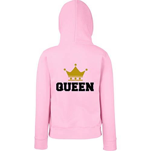 Shirt-Panda Damen & Herren - King & Queen Crown College - Hoodie - Couple Pärchen Fun Motiv Druck Rosa - Queen (Druck Schwarz) Frauen-Hoodie - Moderne Bonnie Und Clyde Kostüm