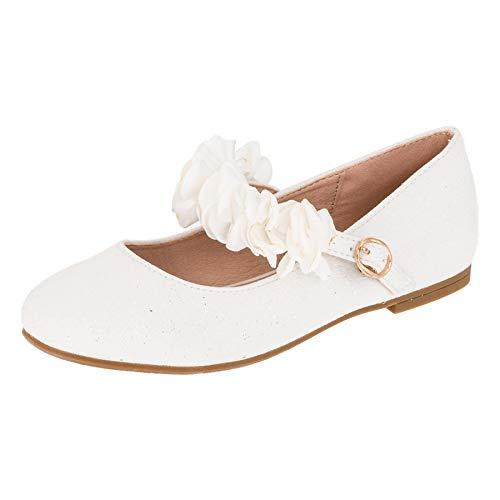 Doremi Edle Festliche Kinder Mädchen Prinzessinnen Schuhe Ballerinas mit Schnalle M512ws Weiß 31 EU