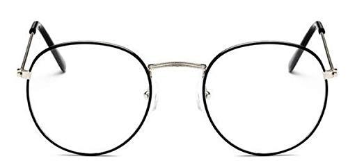 XSHY Designer Woman Brillen Optische Rahmen Metall Runde Brillengestell Klare Linse Brillen Schwarz Silber Gold Brillenglas (Frame Color : Silverblack)