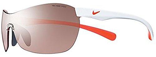 Nike EV0747-106 EXCELLERATE E Sunglasses (One Size), White/Hyper Crimson, Max Speed Tint Lens image