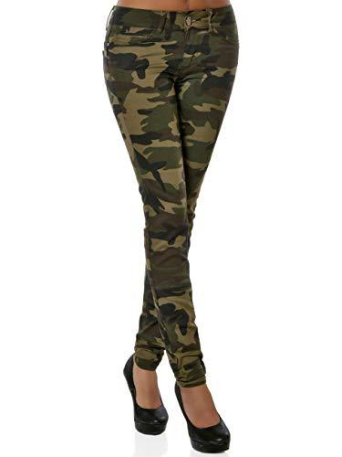 Vintage Militär Kostüm - Daleus Damen Camouflage Hose Push-Up DA