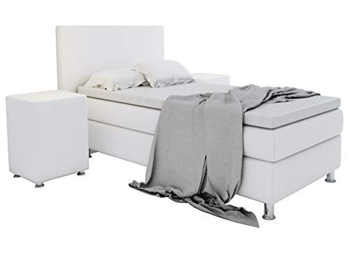 Home Collection24 GmbH Boxspringbett 90x200 cm mit Federkern-Matratze Topper in H3 Hotelbett Einzelbett Kostenlose Anlieferung, Farbe:Weiss