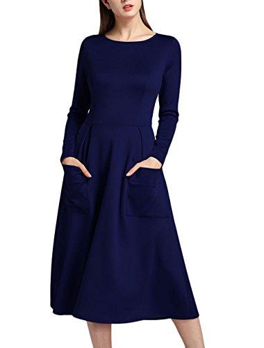 Damen Kleider Elegant Festlich 20Er Jahre Cocktailkleid Langarm Rundhals mit Party Stil Taschen...